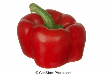 Red sweet pepper, sliced with clipping path