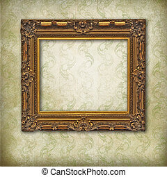 Wooden carved empty frame on faded stylized texture