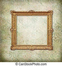Gold baroque empty frame on Victorian wallpaper - Vintage...