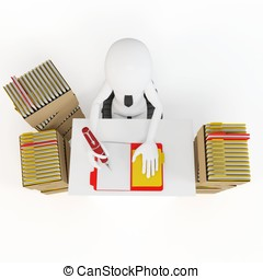 3d man businessman with tons of work to do
