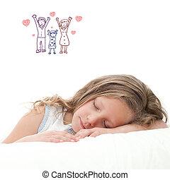 Sweet dreams. - High key concept portrait of sweet little...