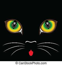 black cat  eyes - Muzzle black  cat  close up.  Eyes.