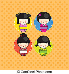 Kokeshi dolls card