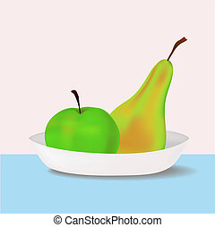 vector apple and pear