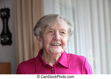 Smiling Grey-haired Old Lady - Smiling grey-haired old lady...