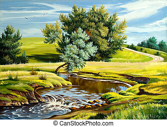 Summer landscape with the river