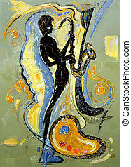 The image of the musician playing a saxophone