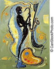 a, imagem, músico, tocando, saxofone