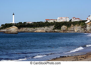 Basque sea,beach and lighthouse in Biarritz Germany