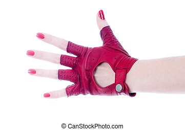 Female hand in leather glove - Female hand in leather...