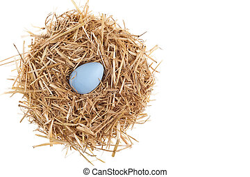 Straw nest with nice colored Easter eggs