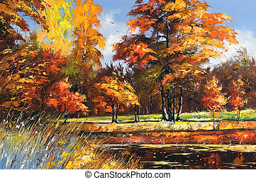 Autumn landscape on the bank of the river