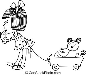 Little girl and toy bear - Little girl carrying a small...