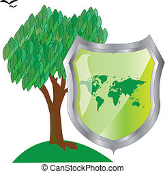 Tree with green leaves and shield.