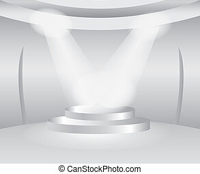 Round white room with stage for exhibition product
