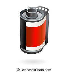 Photo film roll - Illustration of isolated photo camera film...