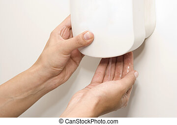 Wall Mounted Sanitizer Dispenser with Woman Hand - Hand...