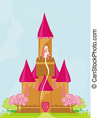 princess in tower - Illustration of princess in tower...