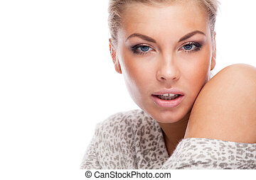 Portrait - Blonde woman. Isolated over white.