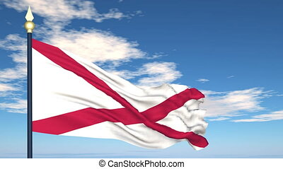 Flag of the state of Alabama USA - Flag state of Alabama on...