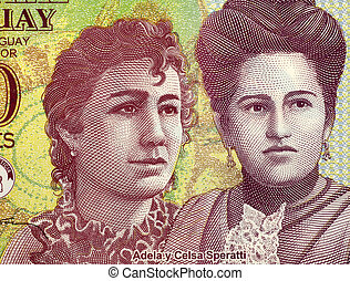 Adela and Celsa Speratti on 2000 Guaranies 2009 Banknote...