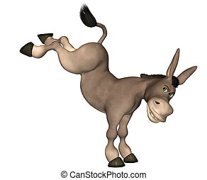 Fighting Donkey - Illustration of a cartoon donkey fighting...