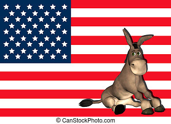Democrat Donkey - Illustration of a cartoon donkey in front...