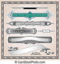 Detailed engraving elements set - Editable vector elements