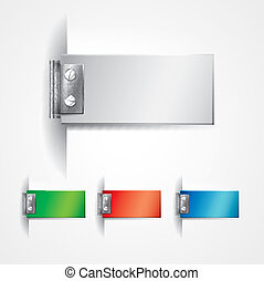 Multicolor hinge stickers - Editable vector design objects