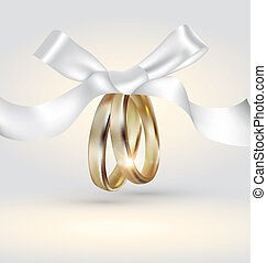 Golden wedding rings with ribbon - Editable luxury...