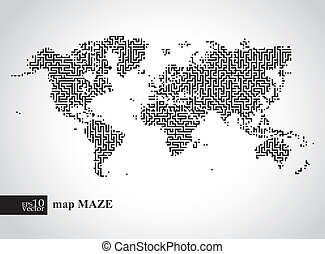 Earth maze map - Editable vector illustration