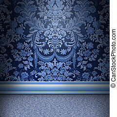 Blue Damask Room - Beautiful blue damask room with light...