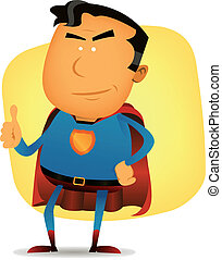 Comic Superman Character - Illustration of a funny cartoon...