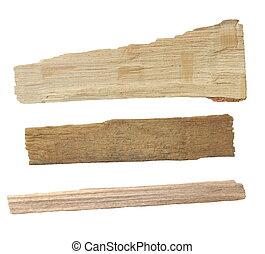 pieces of broken planks of beech