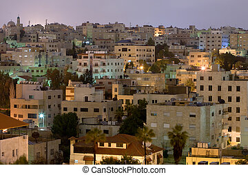 living district Amman city at night, Jordan