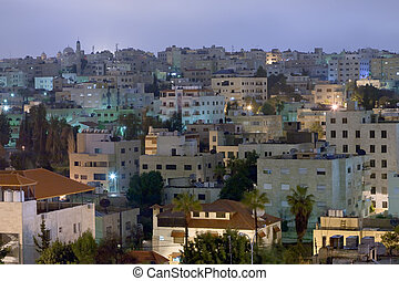 living district Amman city at night