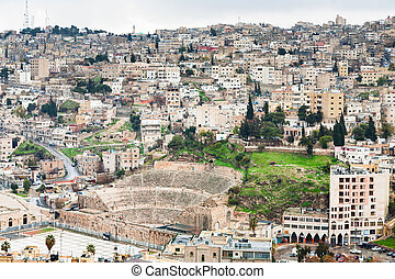 ancient Roman theater in Amman , Jordan - view on ancient...