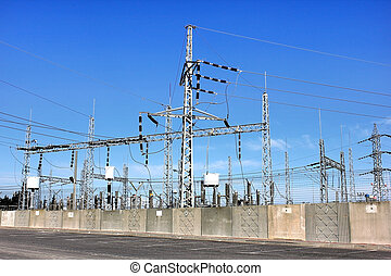 electrical substation - Electrical power transformer in high...
