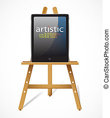 Easel with tablet pc - Editable vector design
