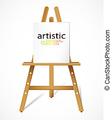 Easel with blank canvas - Editable vector design
