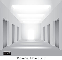 Hall with lights - Editable vector illustration