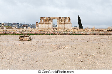 ruins of Umayyad Mosque in antique citadel in Amman, Jordan