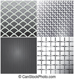 Metallic mesh set - Editable vector backgrounds