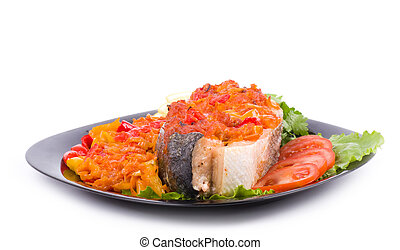 Piece of a salmon with vegetable