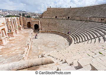 Large South Theatre - in antique town Jerash