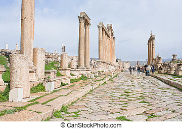 long colonnaded street in antique town Jerash - long...