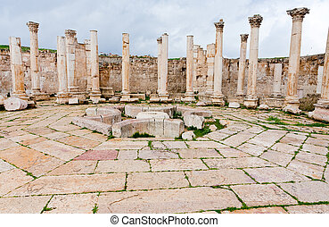 ruins of ancient market house in antique town Jerash