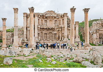 facade of Artemis temple in ancient town Jerash in Jordan
