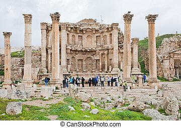 pueblo, antiguo,  Artemis,  Jerash, fachada, templo