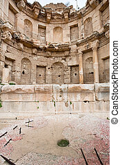 antique bowl near Artemis temple in ancient town Jerash in...